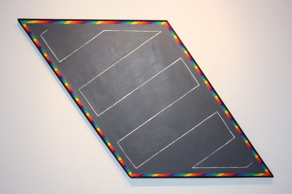 """Peripheral""  Acrylic paint on rainbow fabric"