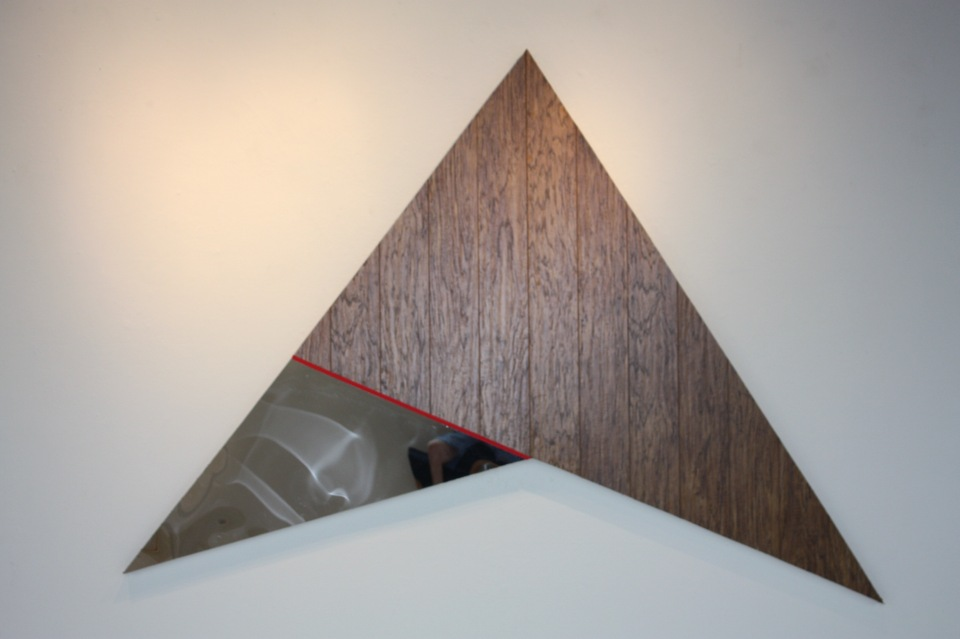 """They rose to start upon a great endeavour""  Wood, imitation wood flooring, acrylic mirror, and spike tape"