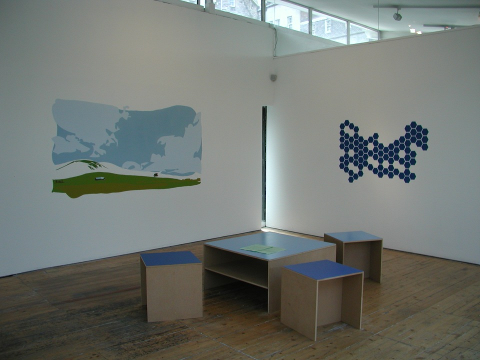 Mural, diagram of market movements, and reading area w/booklet designed for the exhibition