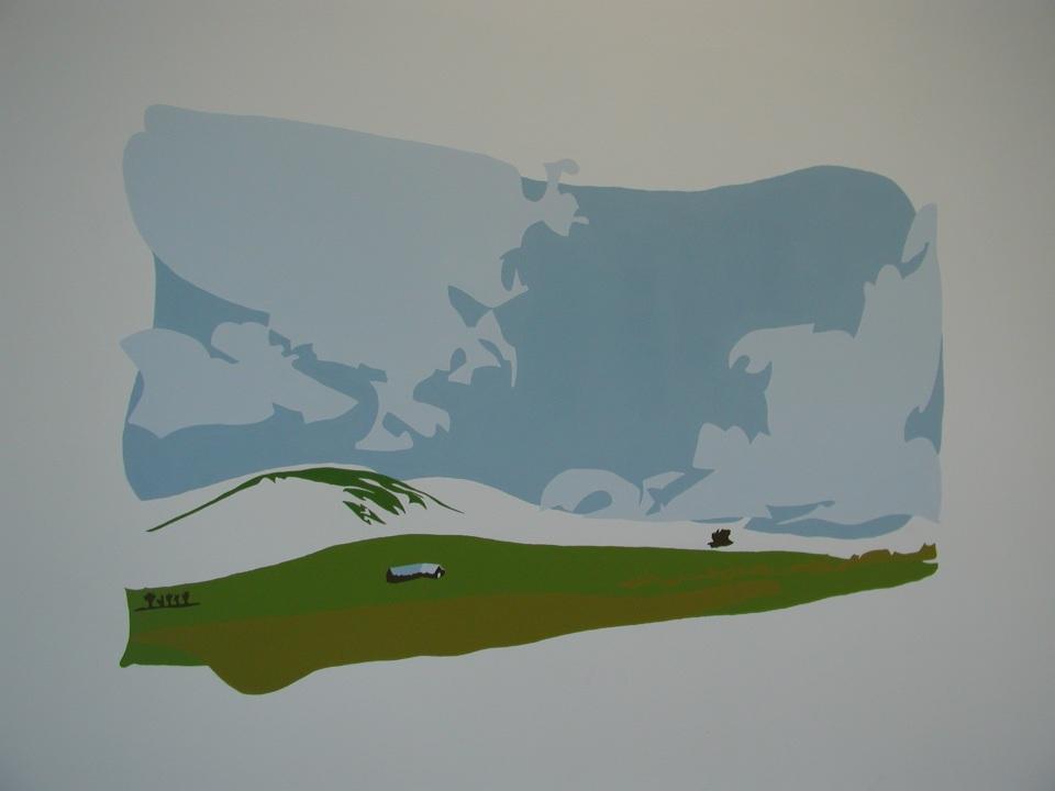 Mural of a farm on the Pentland hills