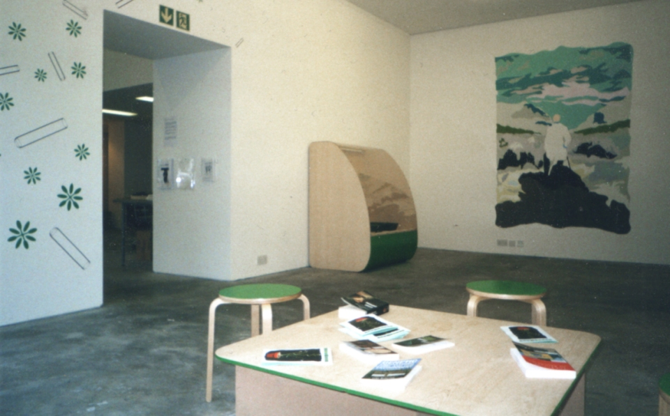 Mural and reading area w/booklets designed for the project.
